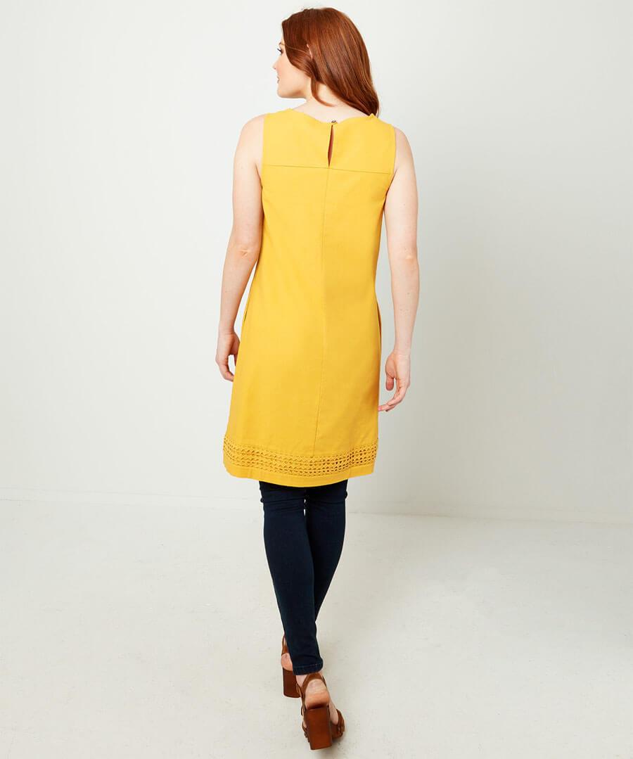 Lovely Mustard Tunic Model Back
