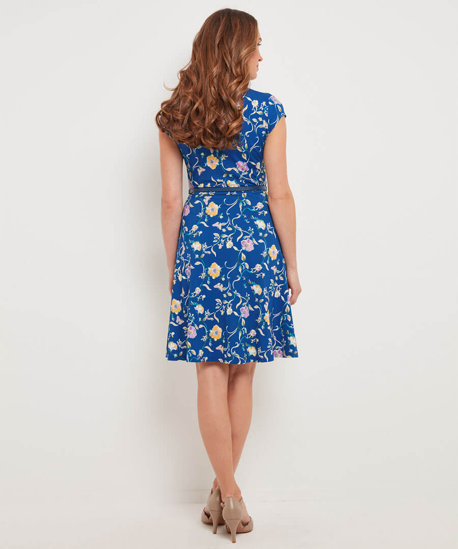 Ditsy Vintage Dress Model Back
