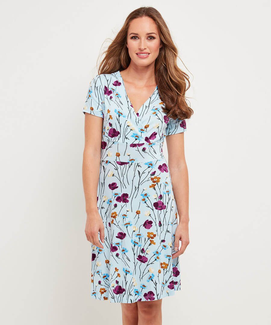 Colourful Floral Dress Model Front