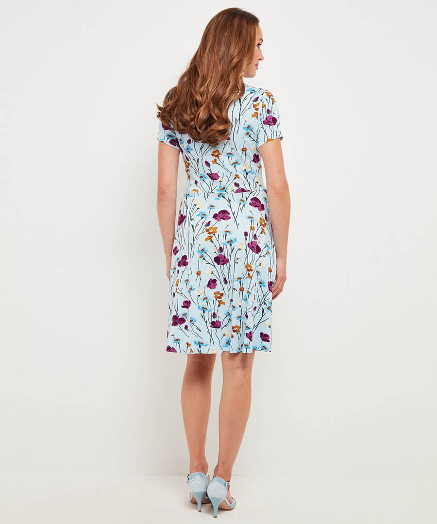 Colourful Floral Dress Model Back