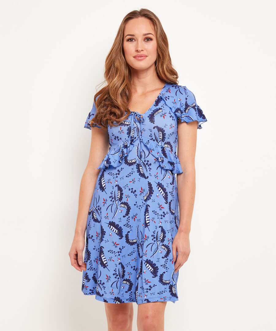 Leafy Jersey Dress Model Front