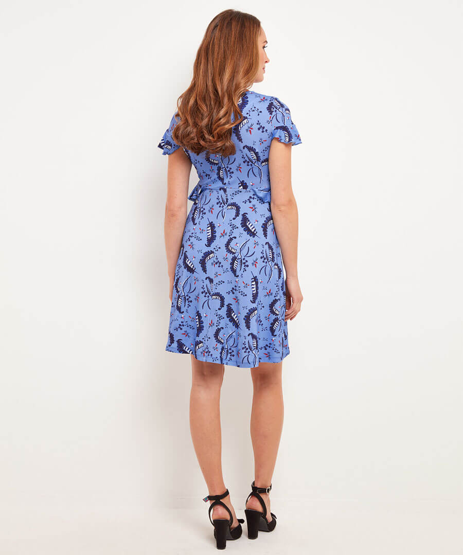 Leafy Jersey Dress Model Back