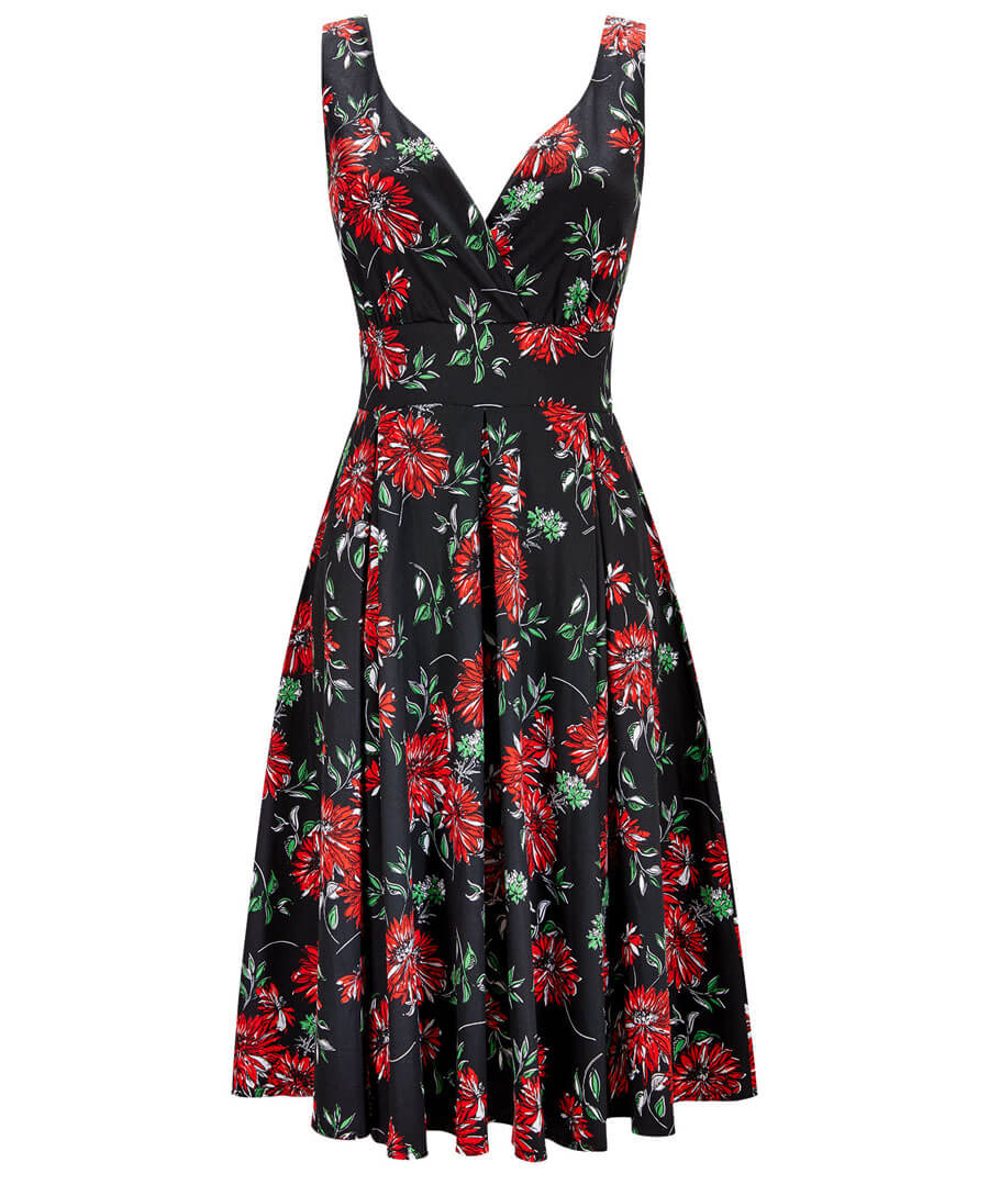 Romantic Floral Dress Model Front