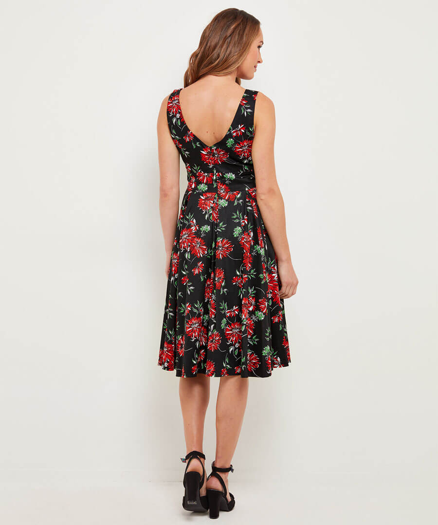 Romantic Floral Dress Model Back