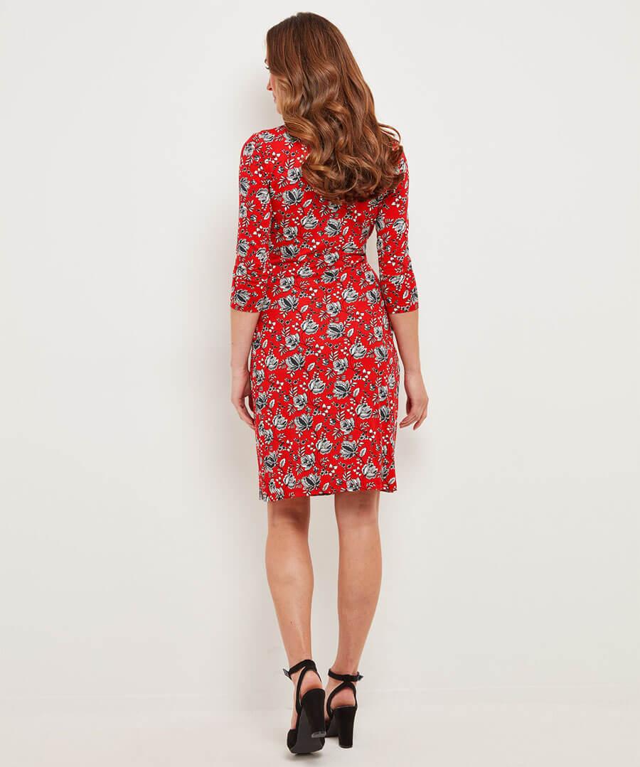 Spontaneous Red Dress Model Back