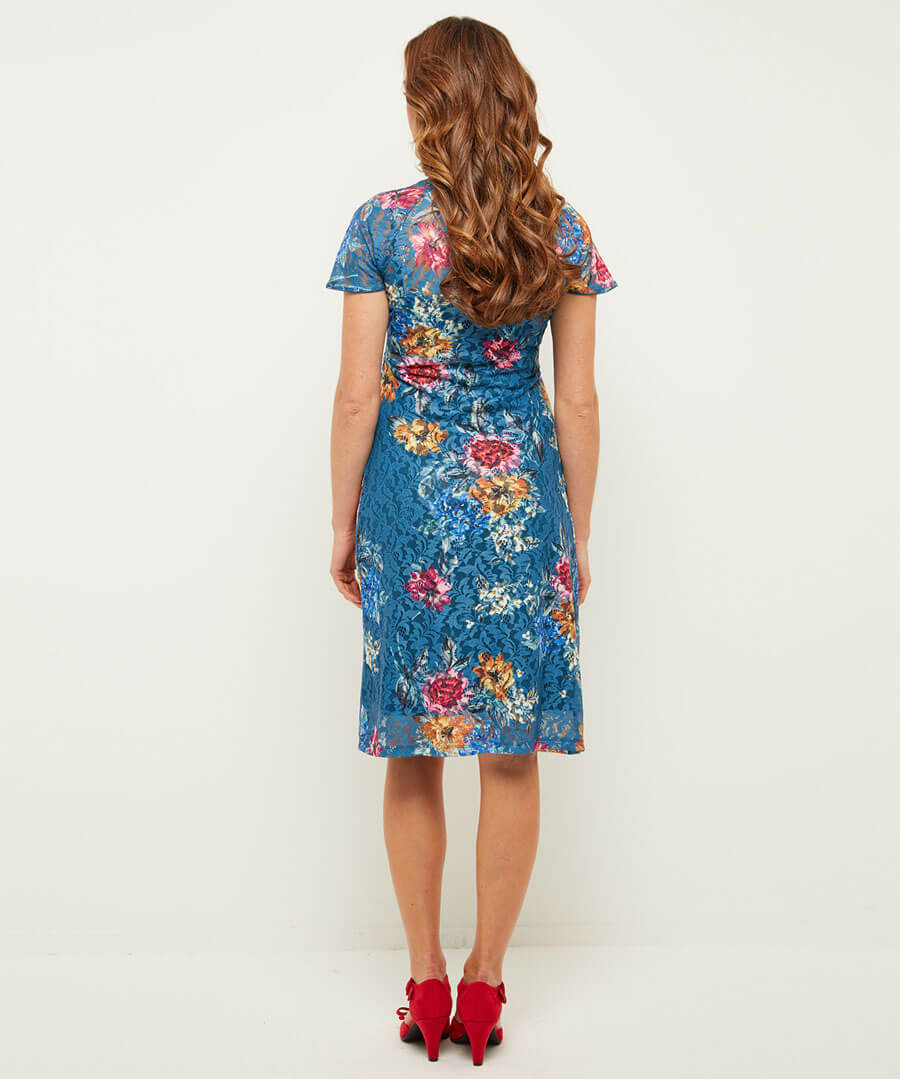 Wintertime Floral Lace Dress Model Back