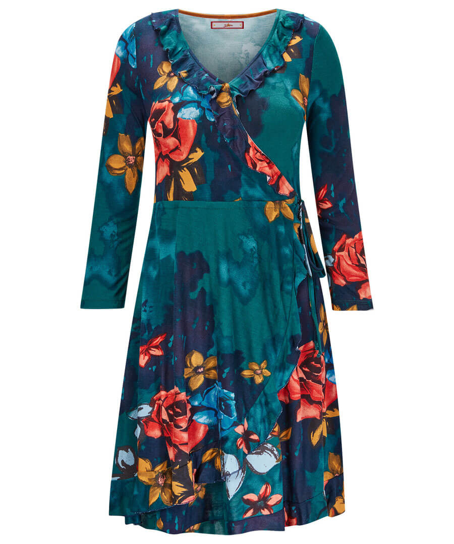 Fields In Bloom Wrap Dress Model Front
