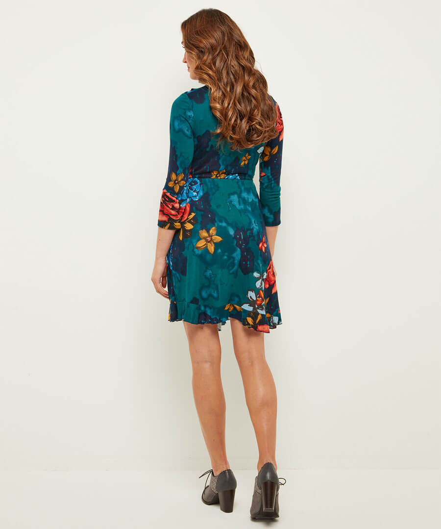 Fields In Bloom Wrap Dress Model Back