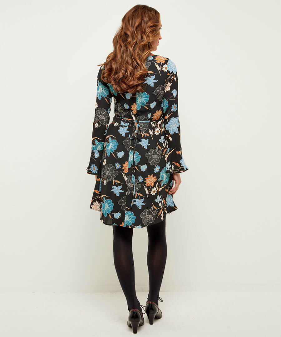 Fabulous Fluted Sleeve Dress Model Back