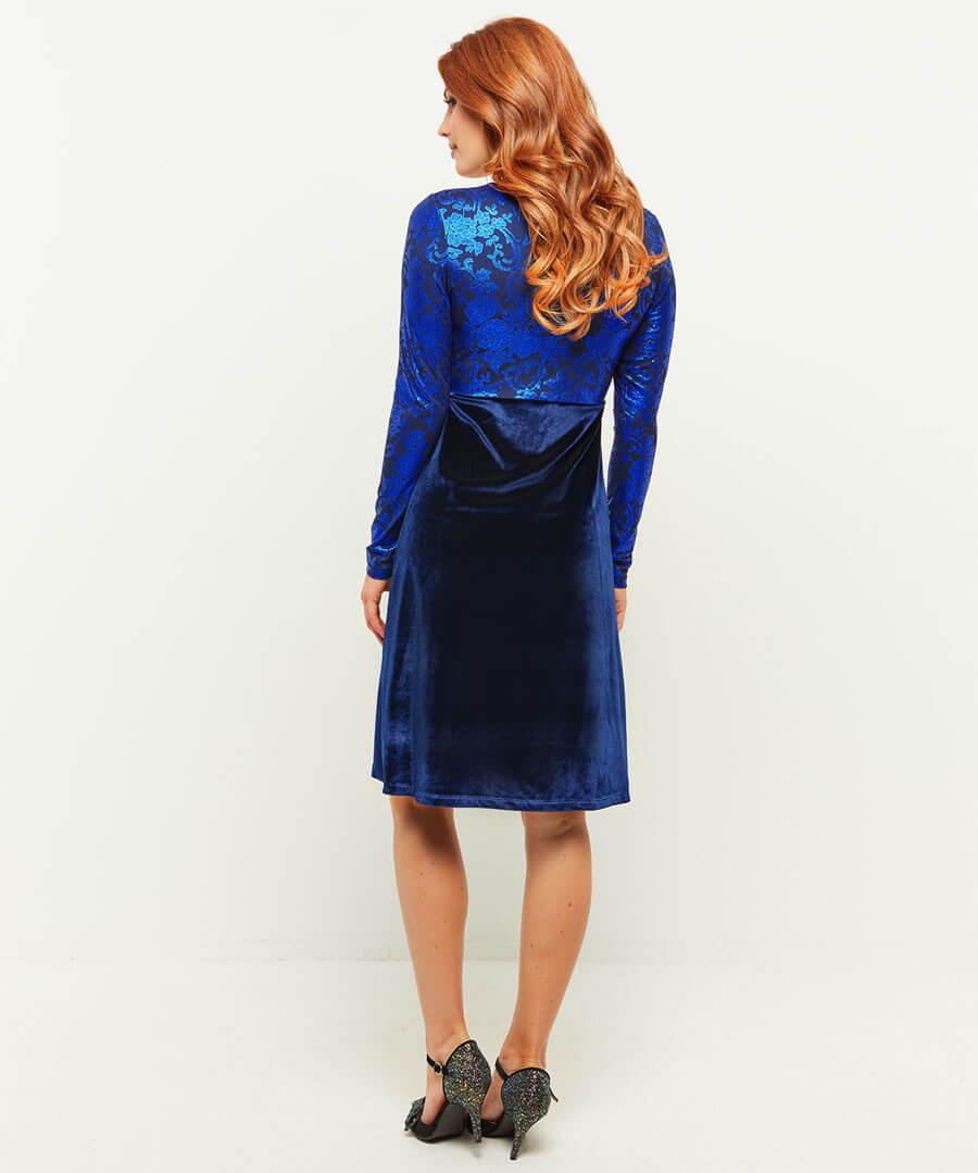 Vivid Velvet Dress Model Back