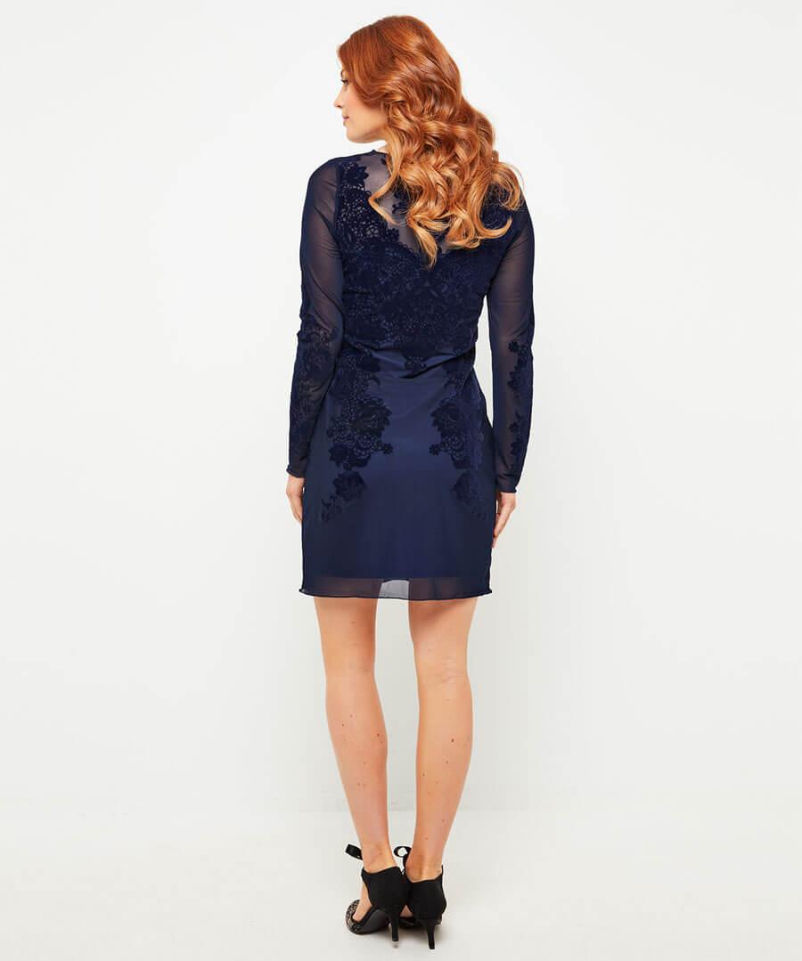 Divine Devore Dress Model Back