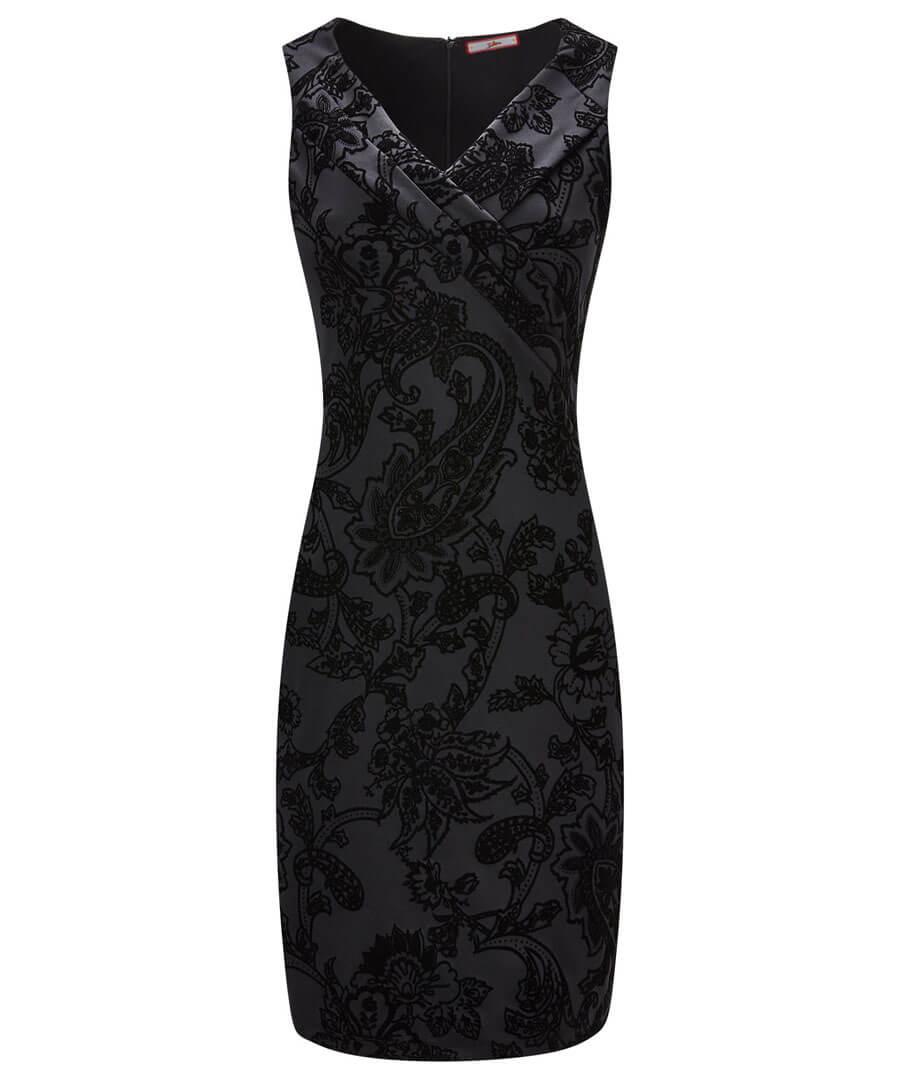 Fancy Flocked Dress Model Front