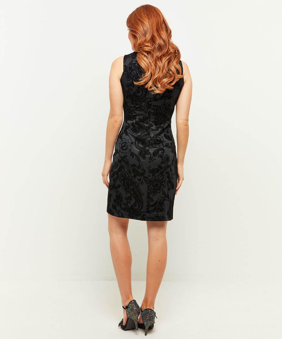 Fancy Flocked Dress Model Back