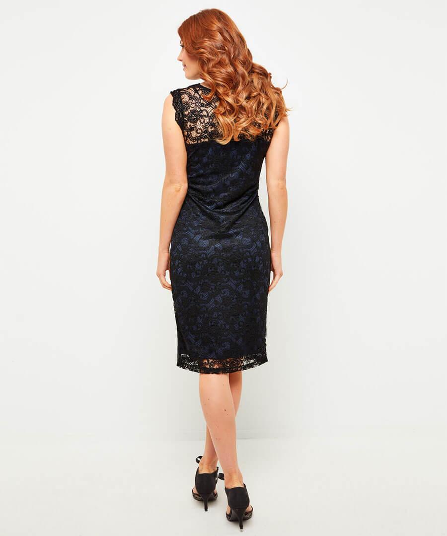 Lustrous Lace Dress Model Back