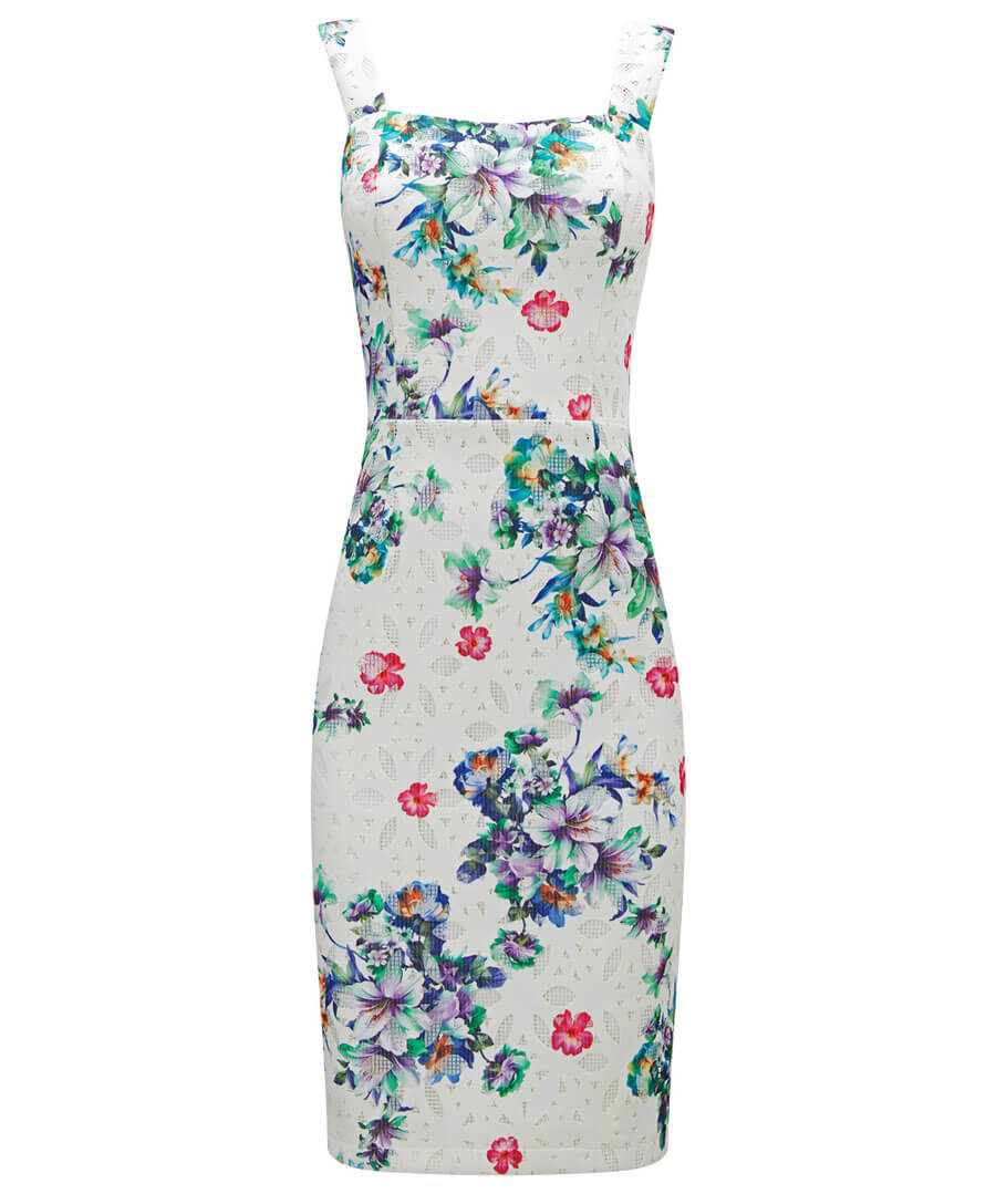 Printed Lace Dress Model Front