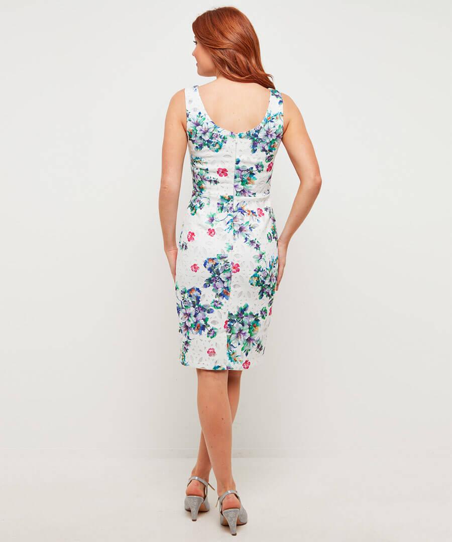 Printed Lace Dress Model Back