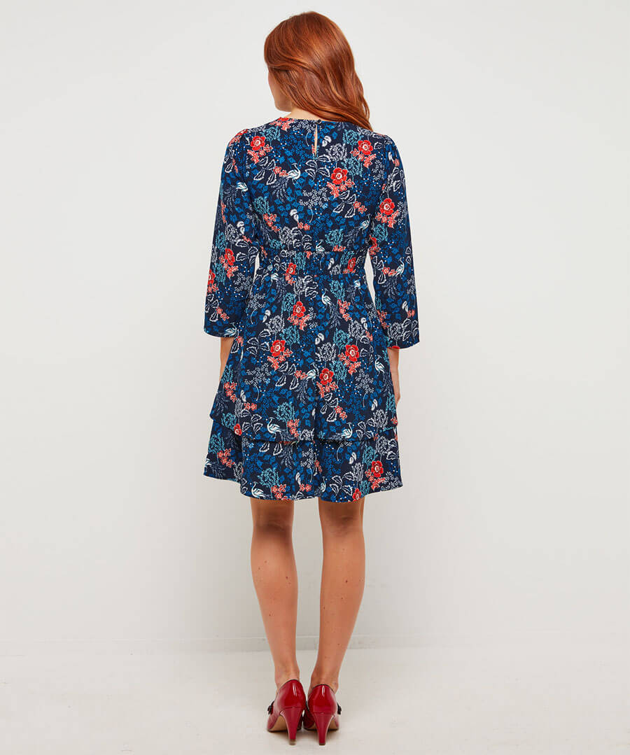 Alluring Peacock Layered Dress