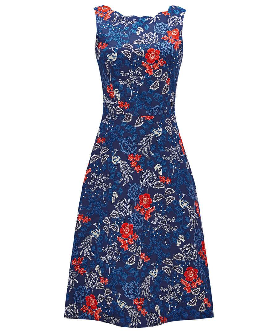 Vintage Peacock Dress Model Front