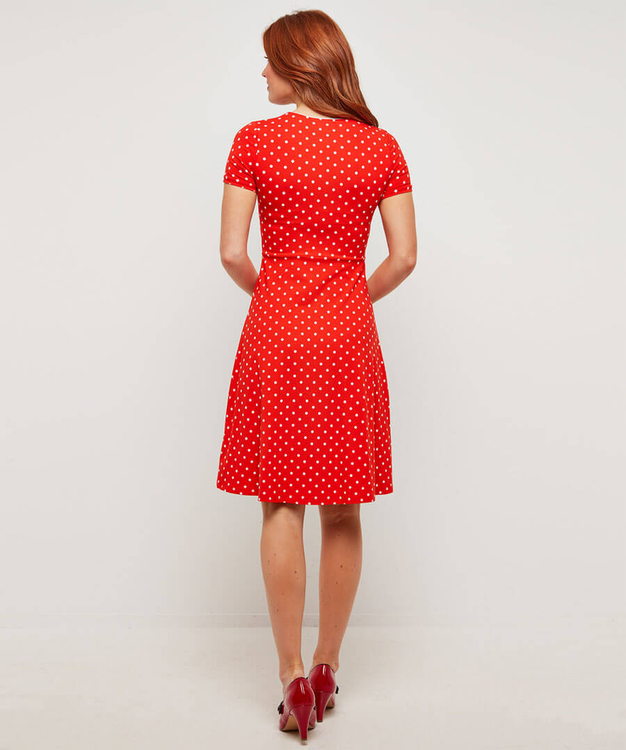 Perfect Polka Dot Jersey Dress Model Back