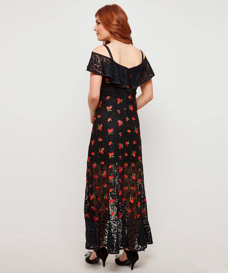 Fruity Flamenco Lace Dress Model Back