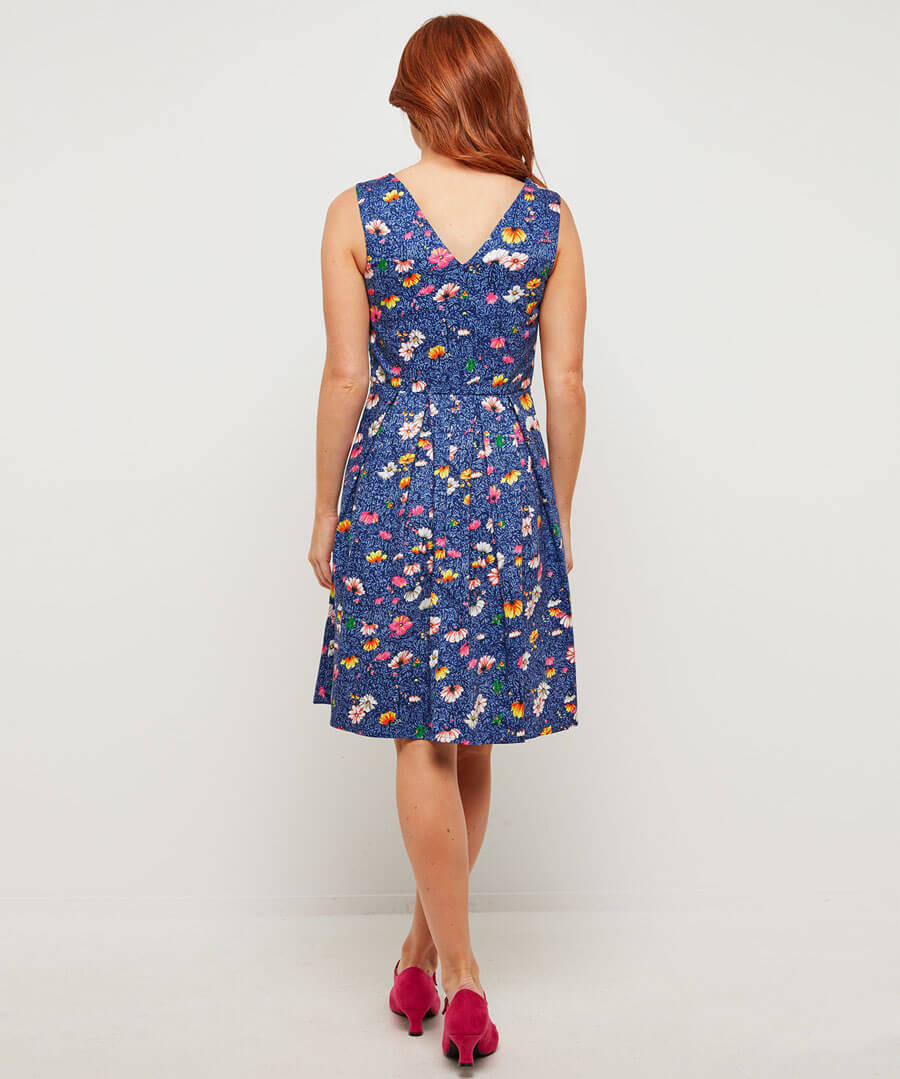 Fancy Floral Dress Model Back