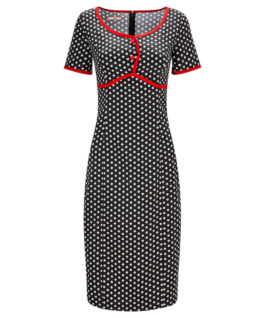 Passionately Polka Dot Dress Model Front