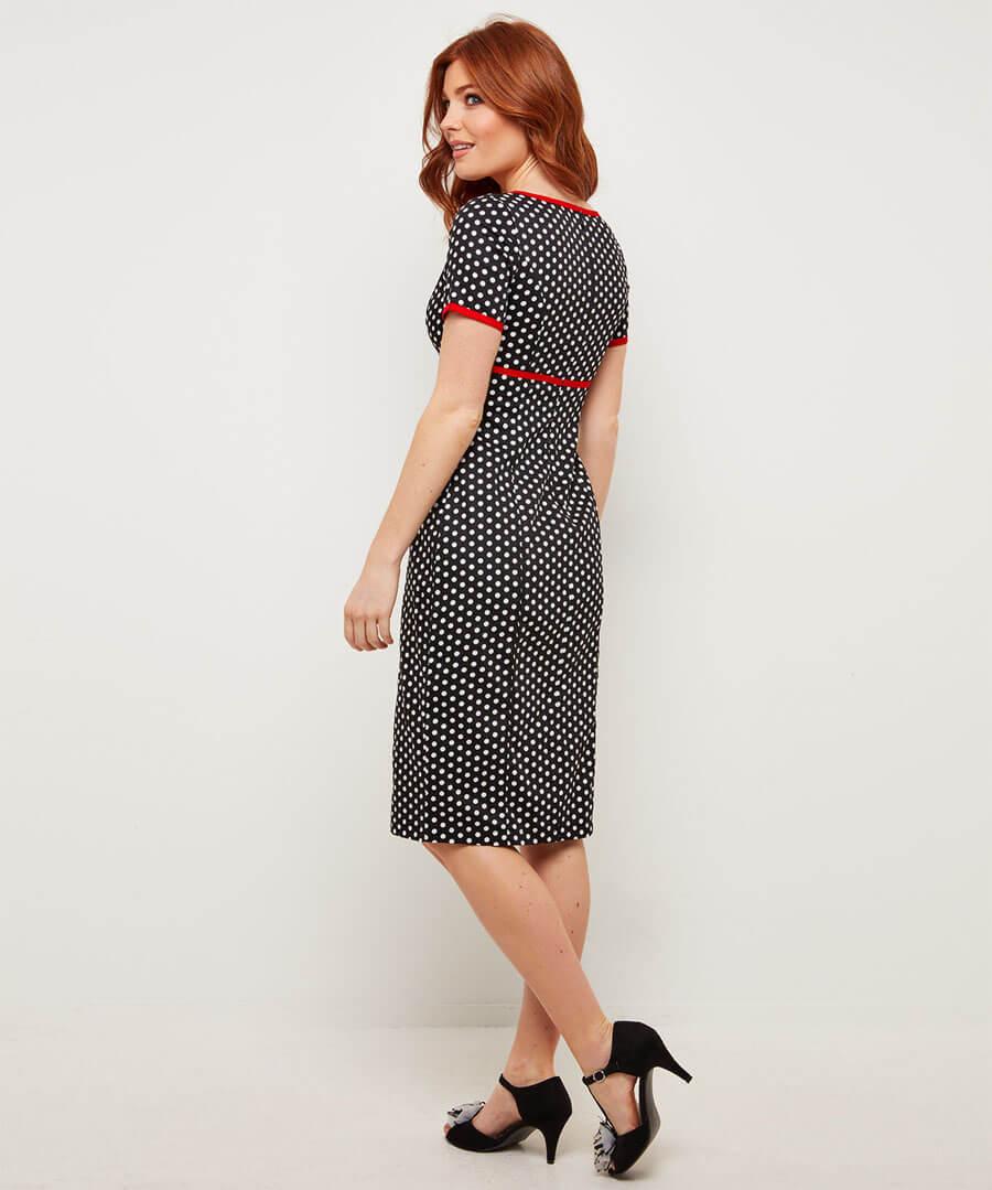 Passionately Polka Dot Dress Model Back