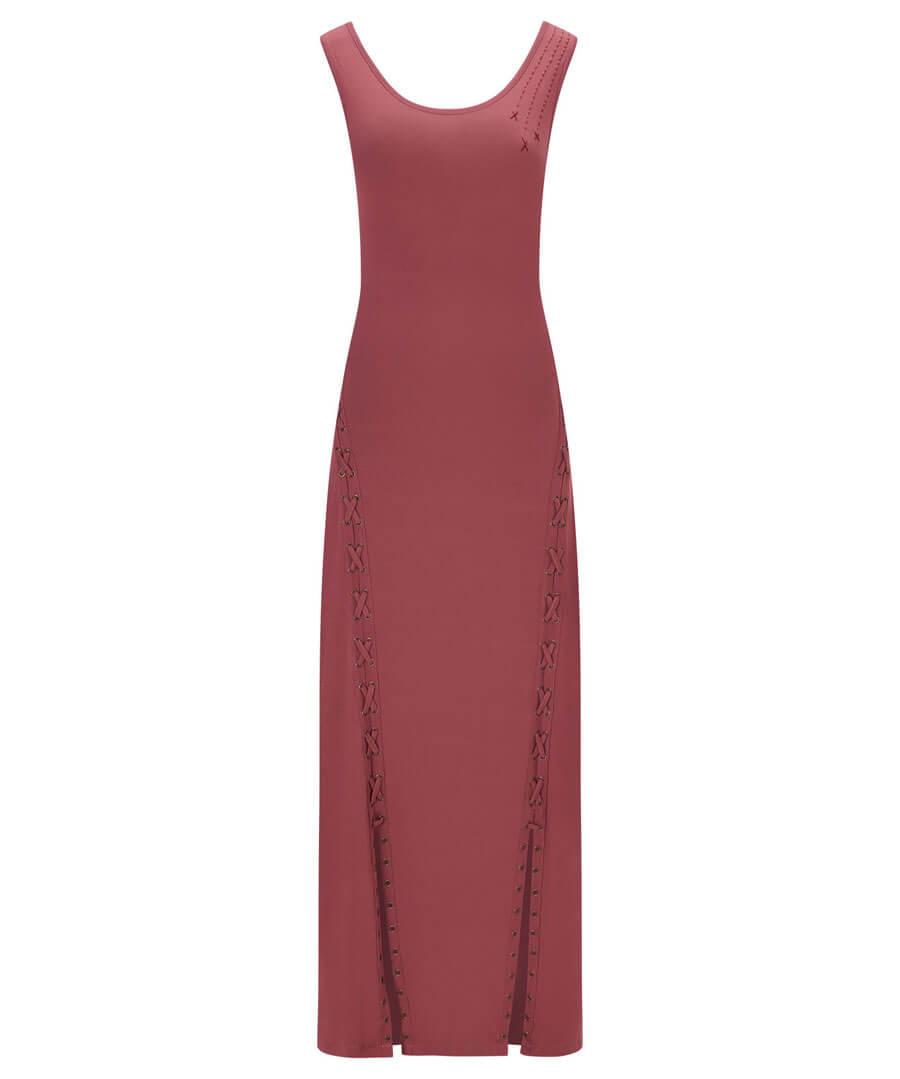 Unique Lace Up Maxi Dress Model Front
