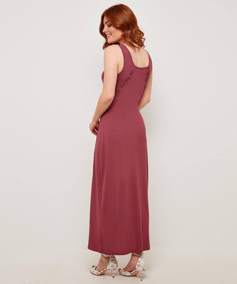Unique Lace Up Maxi Dress Model Back
