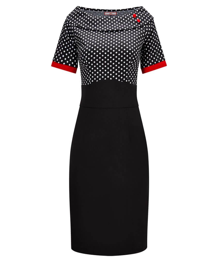 Passionate Polka Dot Dress Model Front