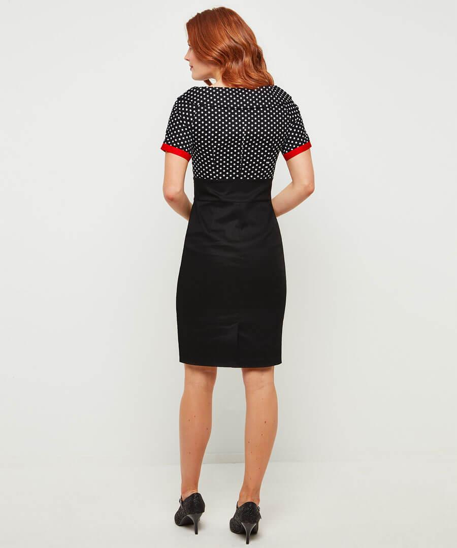 Passionate Polka Dot Dress Model Back