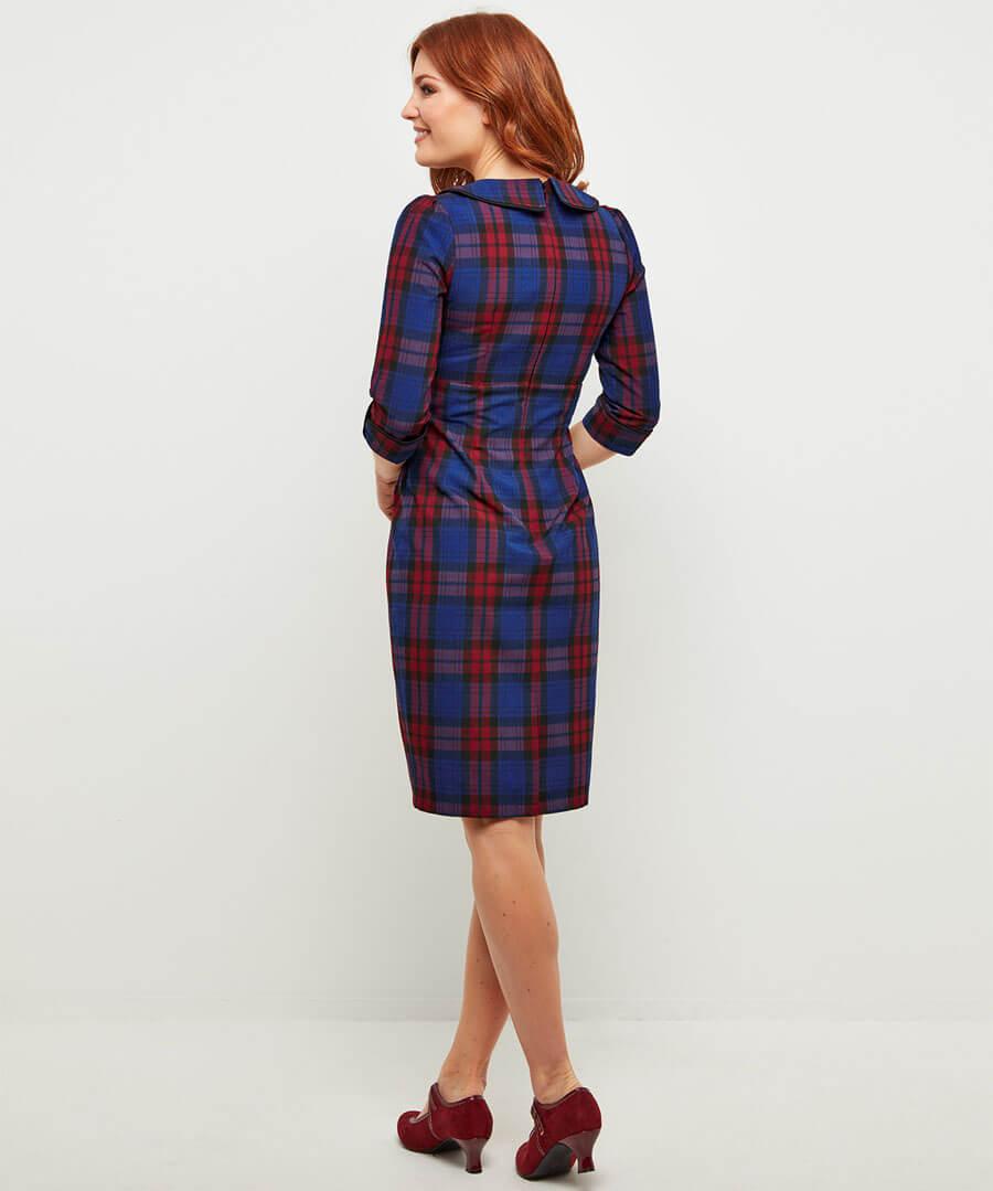 Vintage Check Dress Model Back
