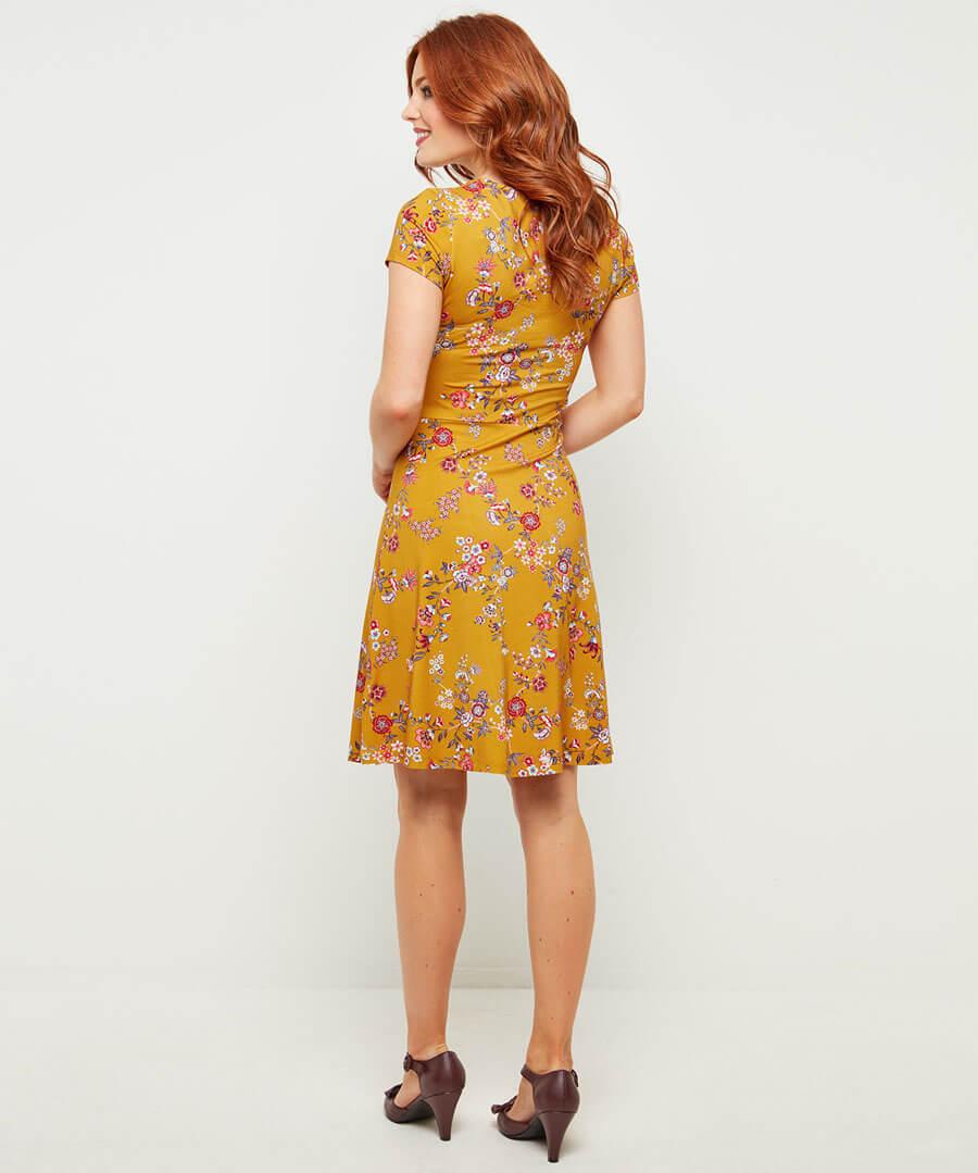 Dainty Floral Dress Model Back