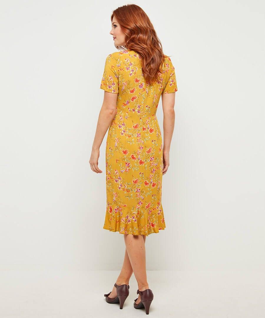 Vintage Florals Dress Model Back