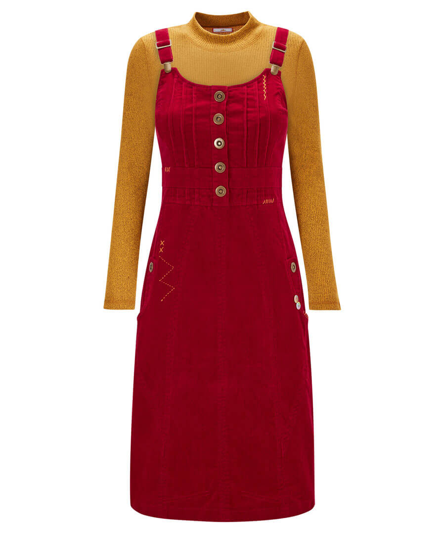 Our Favourite Cord Pinafore Dress Model Front