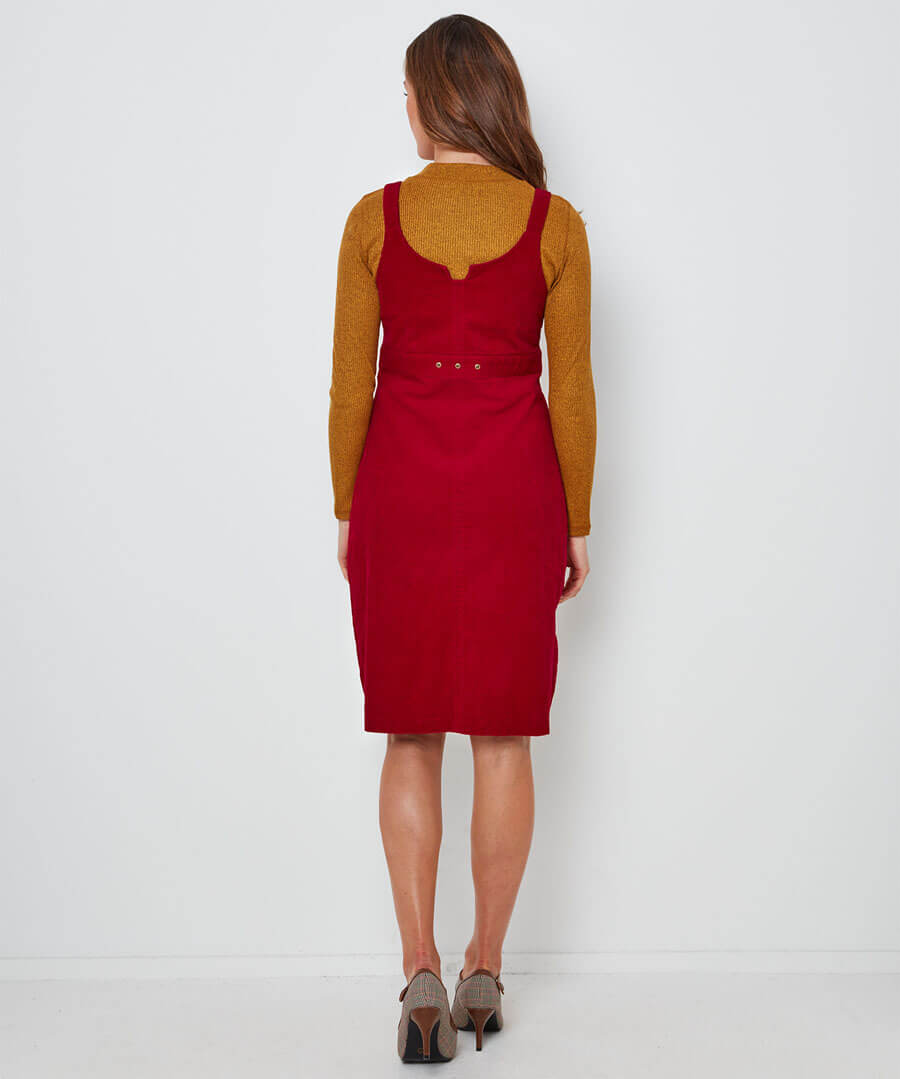 Our Favourite Cord Pinafore Dress Model Back