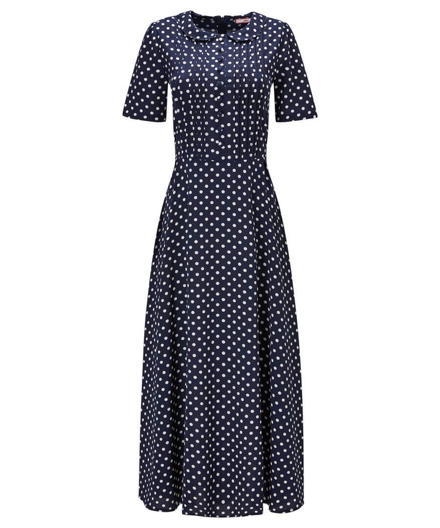 Bubble Crepe Polka Dot Dress Model Front