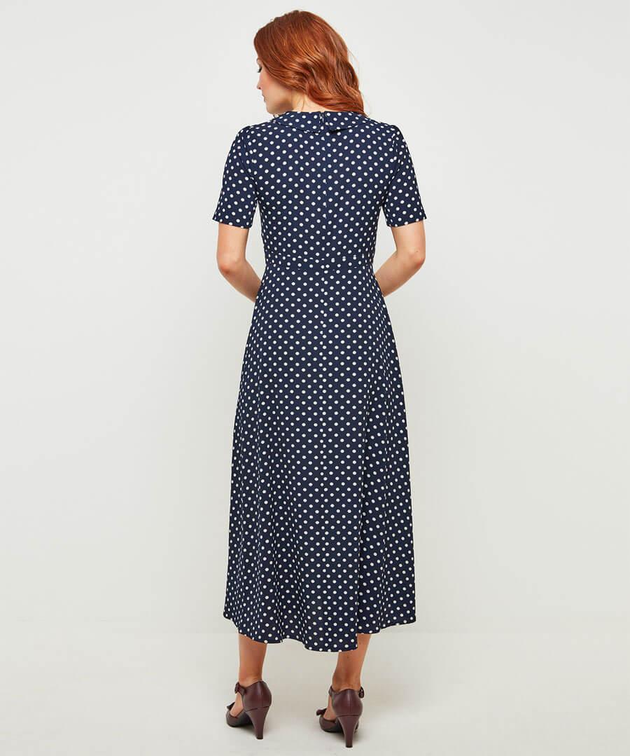 Bubble Crepe Polka Dot Dress Model Back