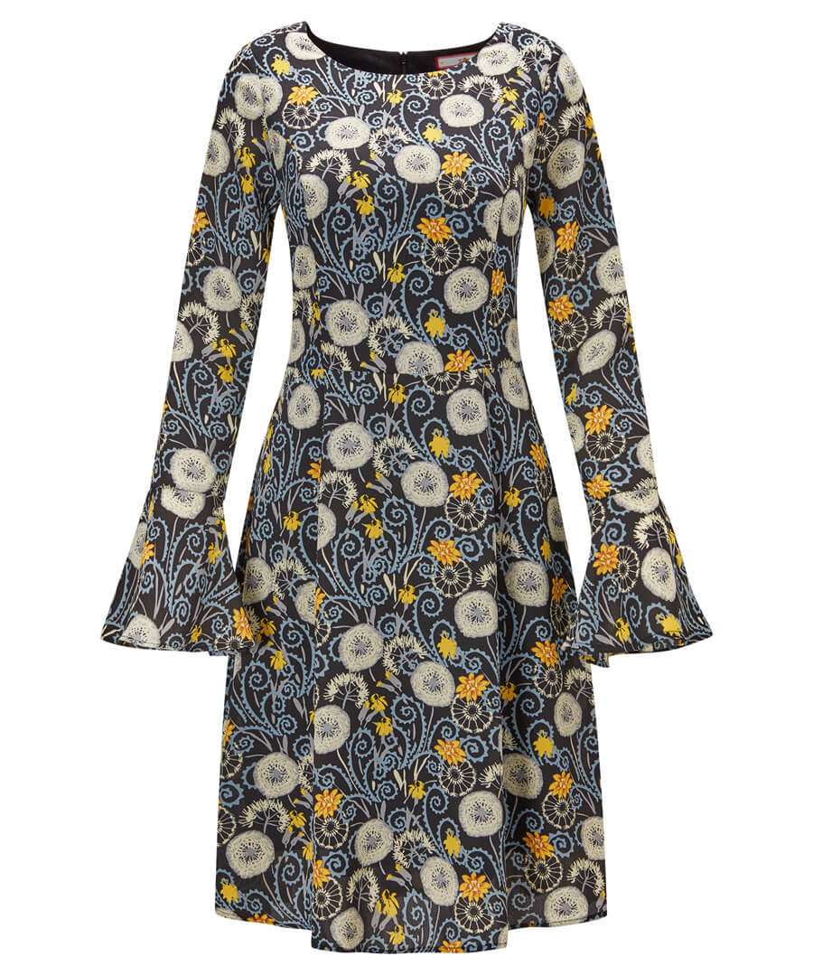 Fluted Sleeve Dress Model Front