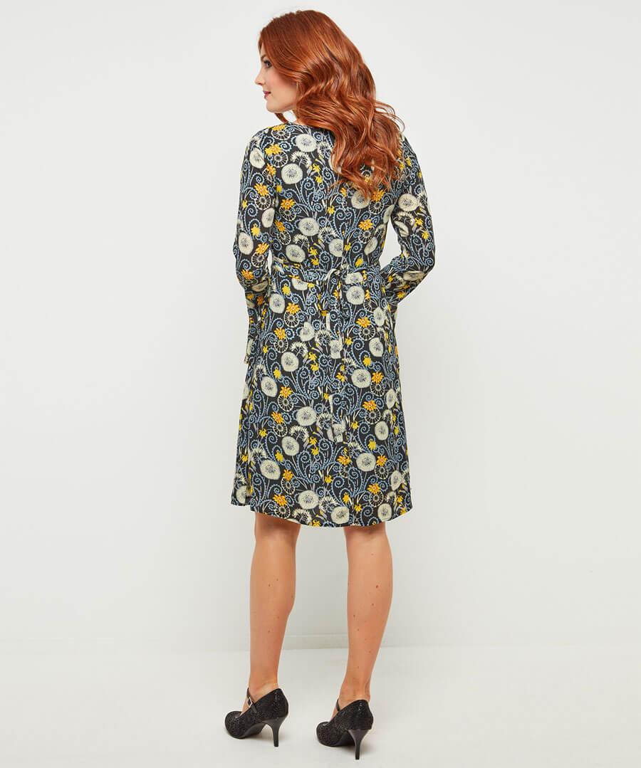 Fluted Sleeve Dress Model Back