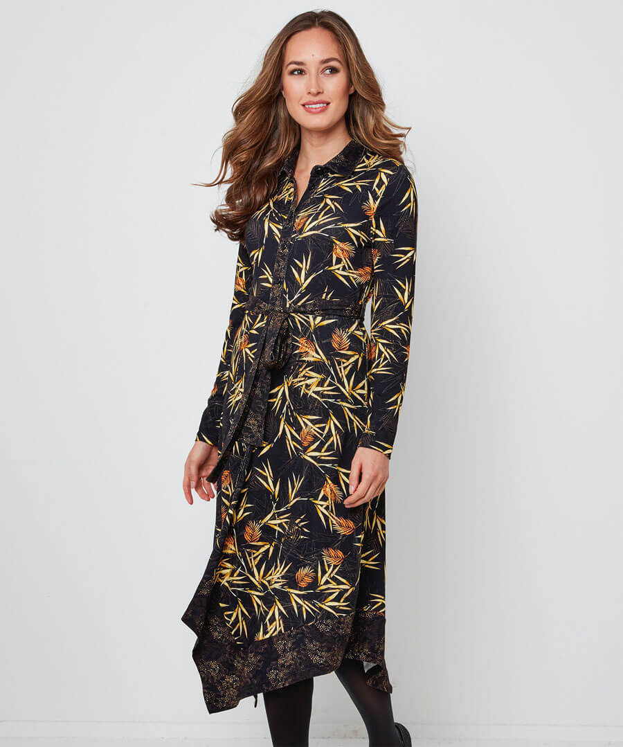 Autumnal Palm Jersey Dress Model Front