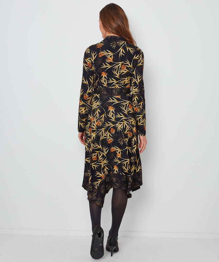 Autumnal Palm Jersey Dress Model Back