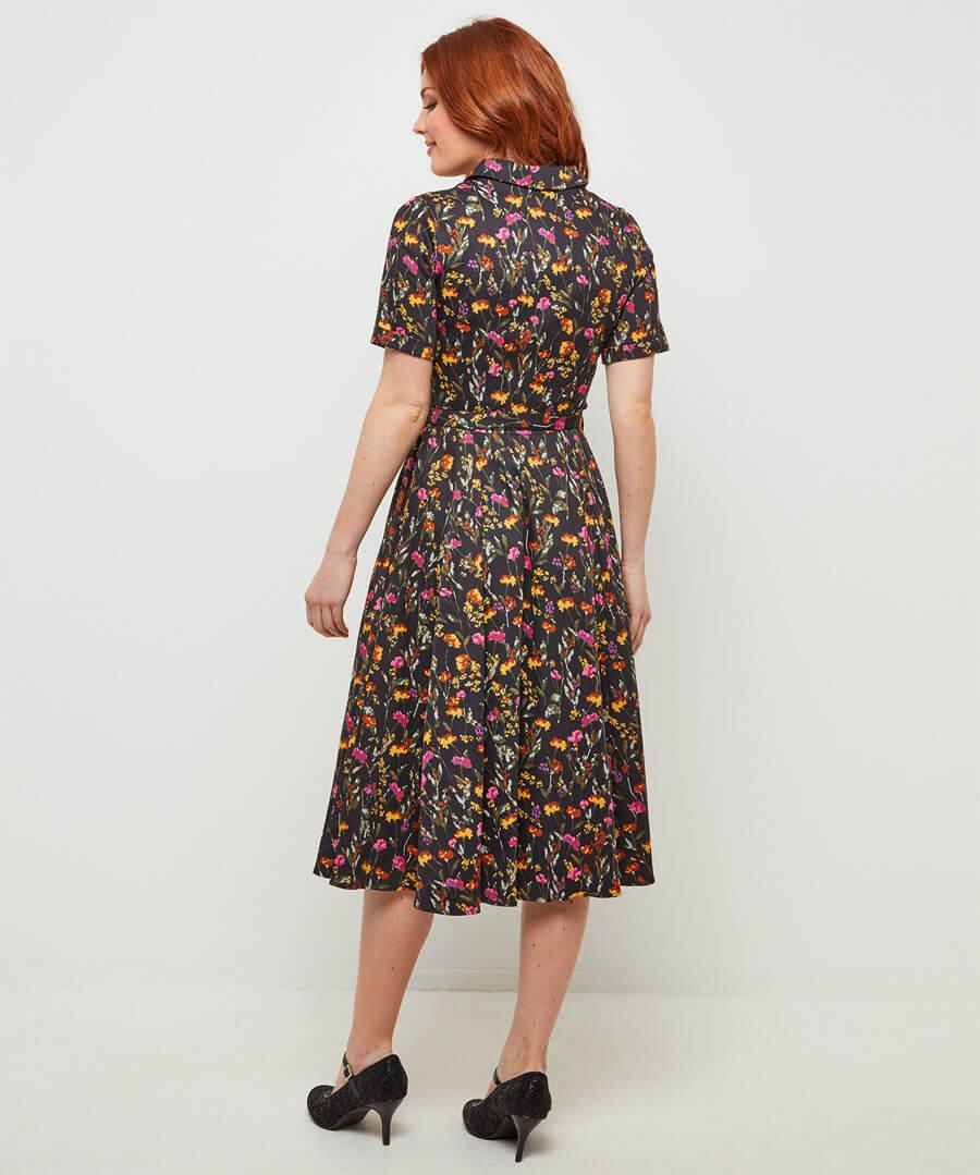 Floral Shirt Dress Model Back