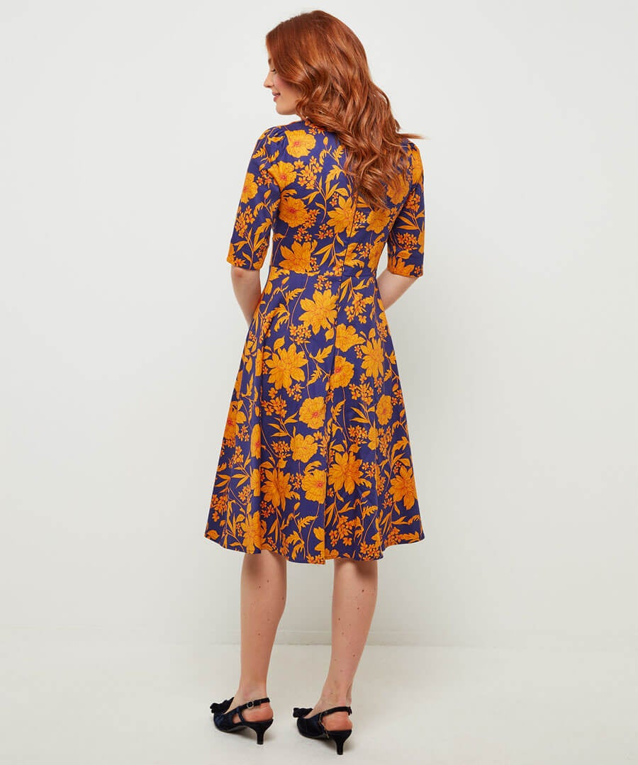 Golden Florals Dress Model Back