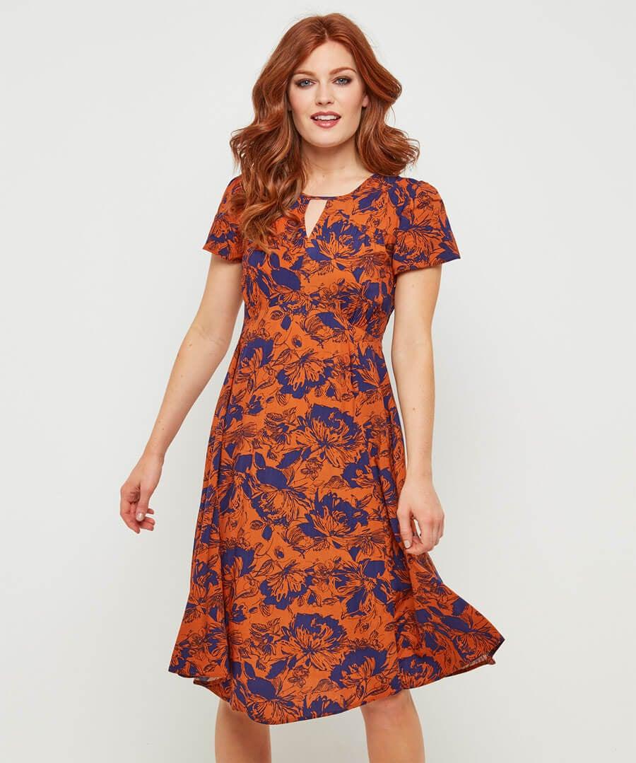 Vintage Print Dress Model Front