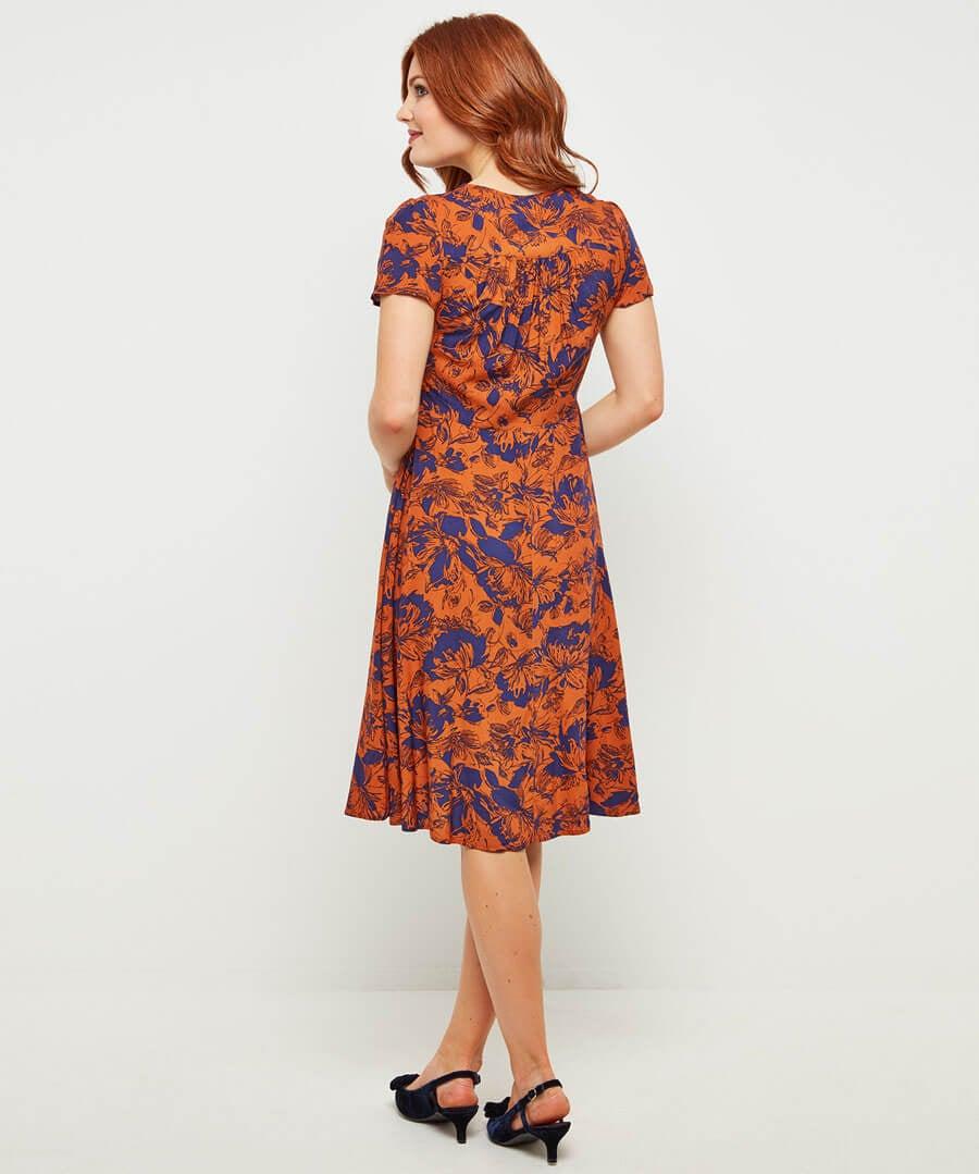 Vintage Print Dress Model Back