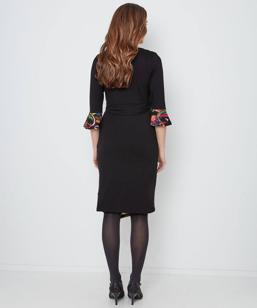 Pop Of Print Dress Model Back