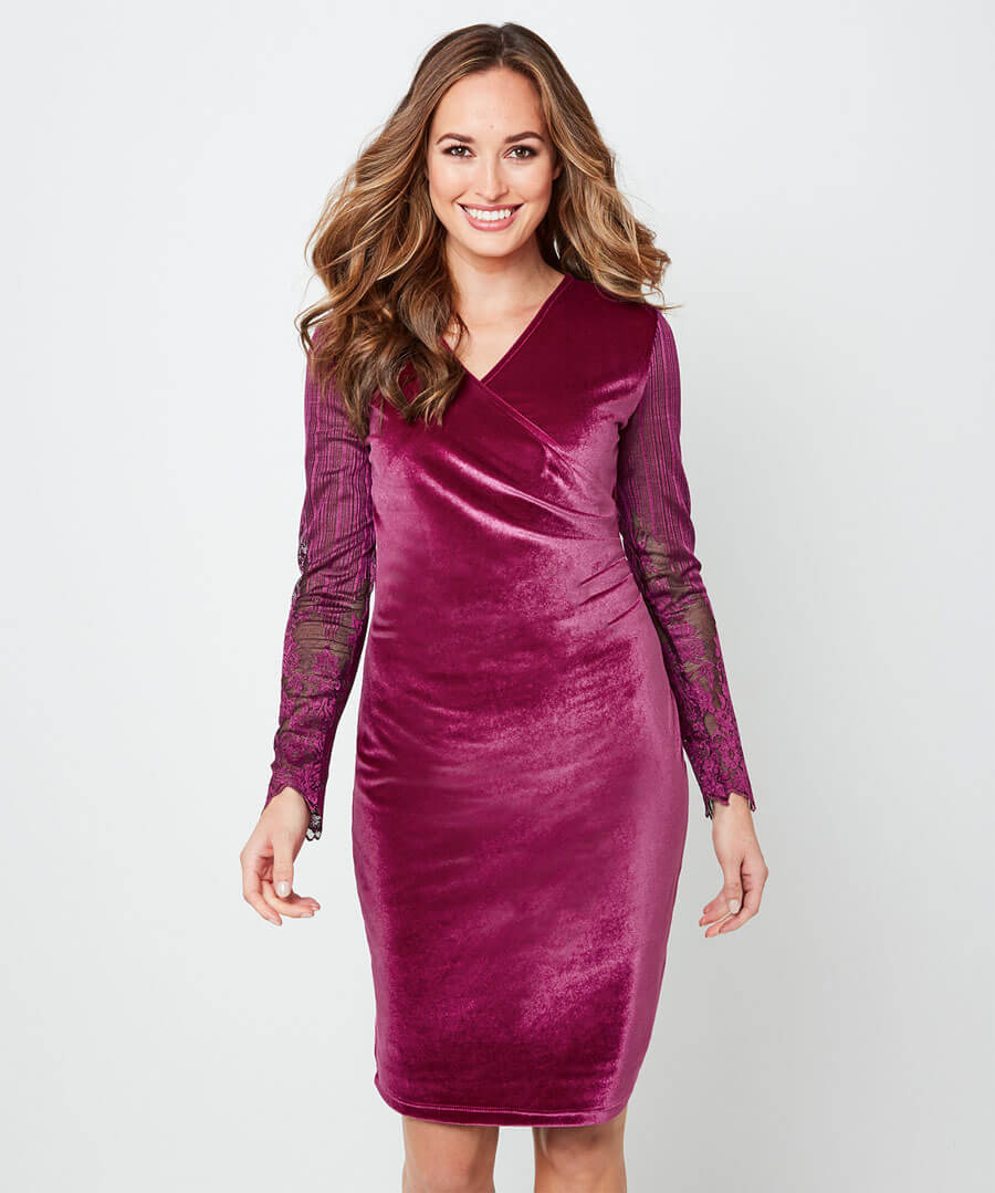 Wrap Up Velvet Party Dress Model Front