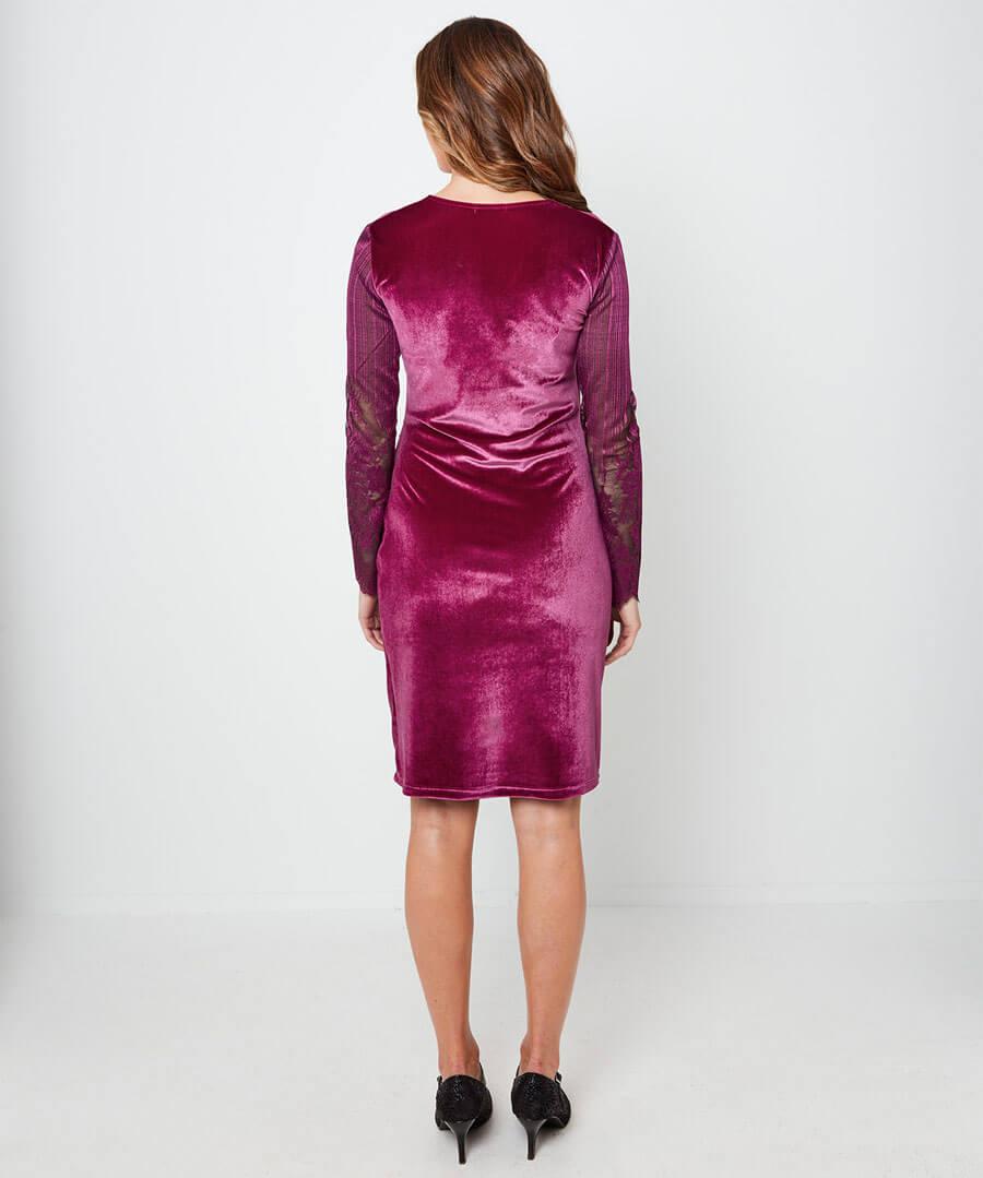 Wrap Up Velvet Party Dress Model Back