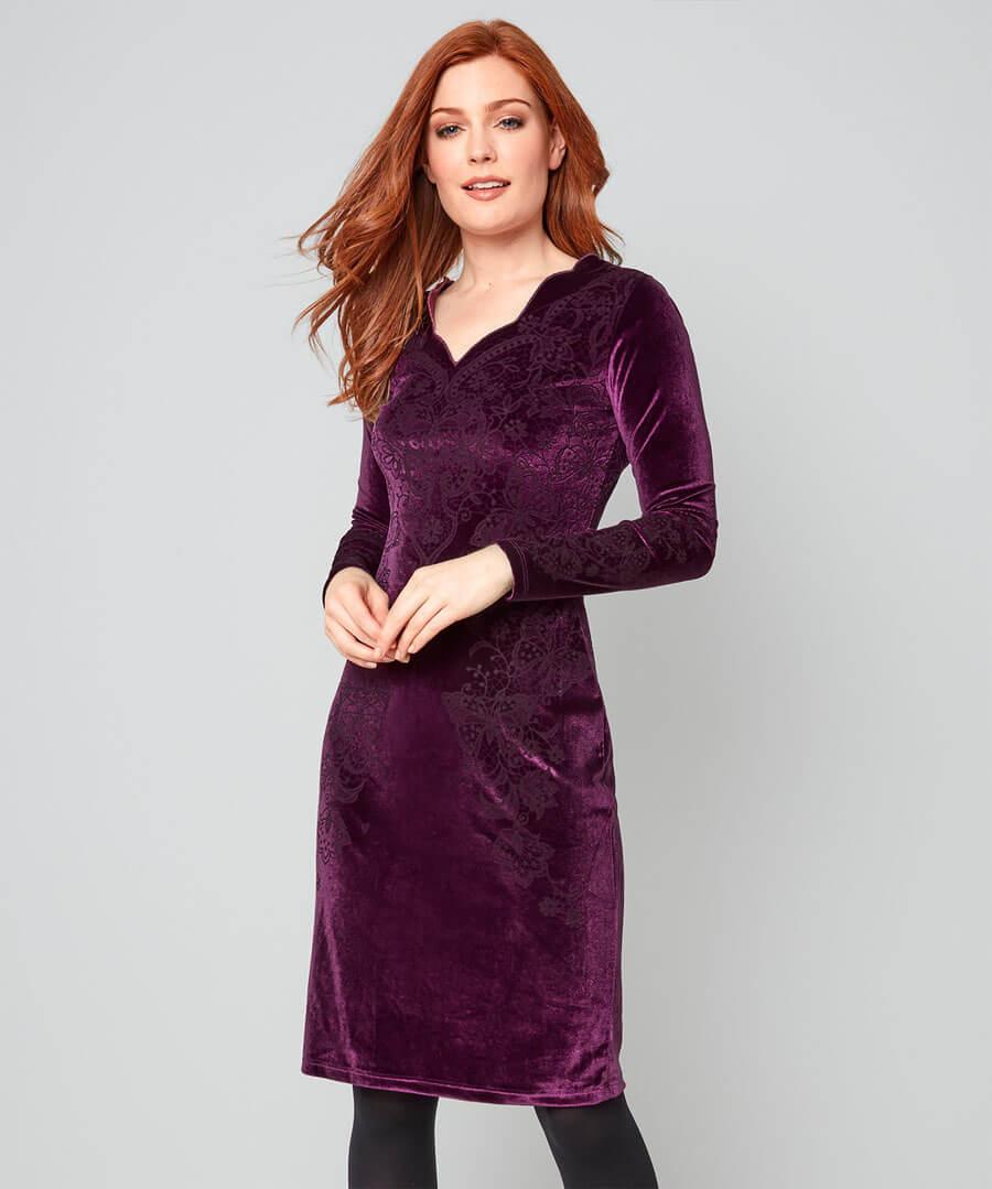 Versatile Velvet Party Dress Model Front